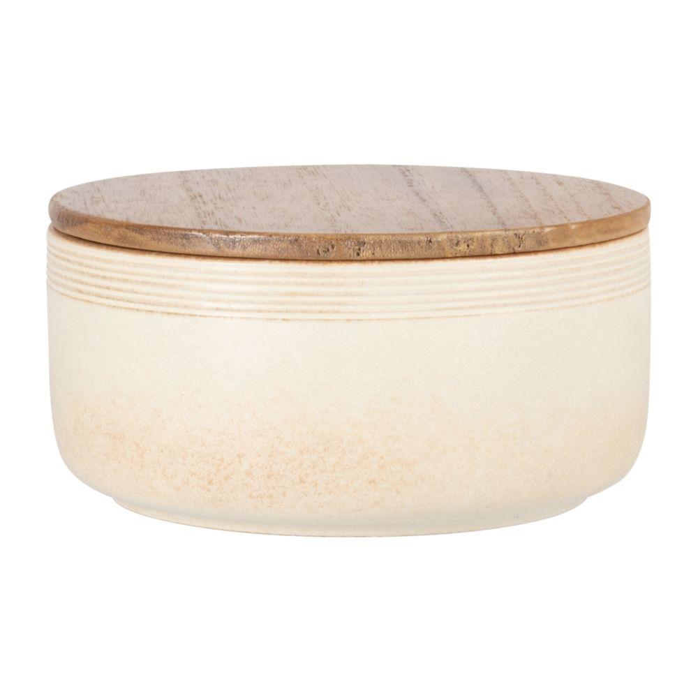 Boîte en grès beige avec couvercle en manguier
