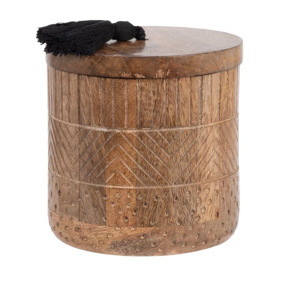 Boîte en manguier à pompon noir