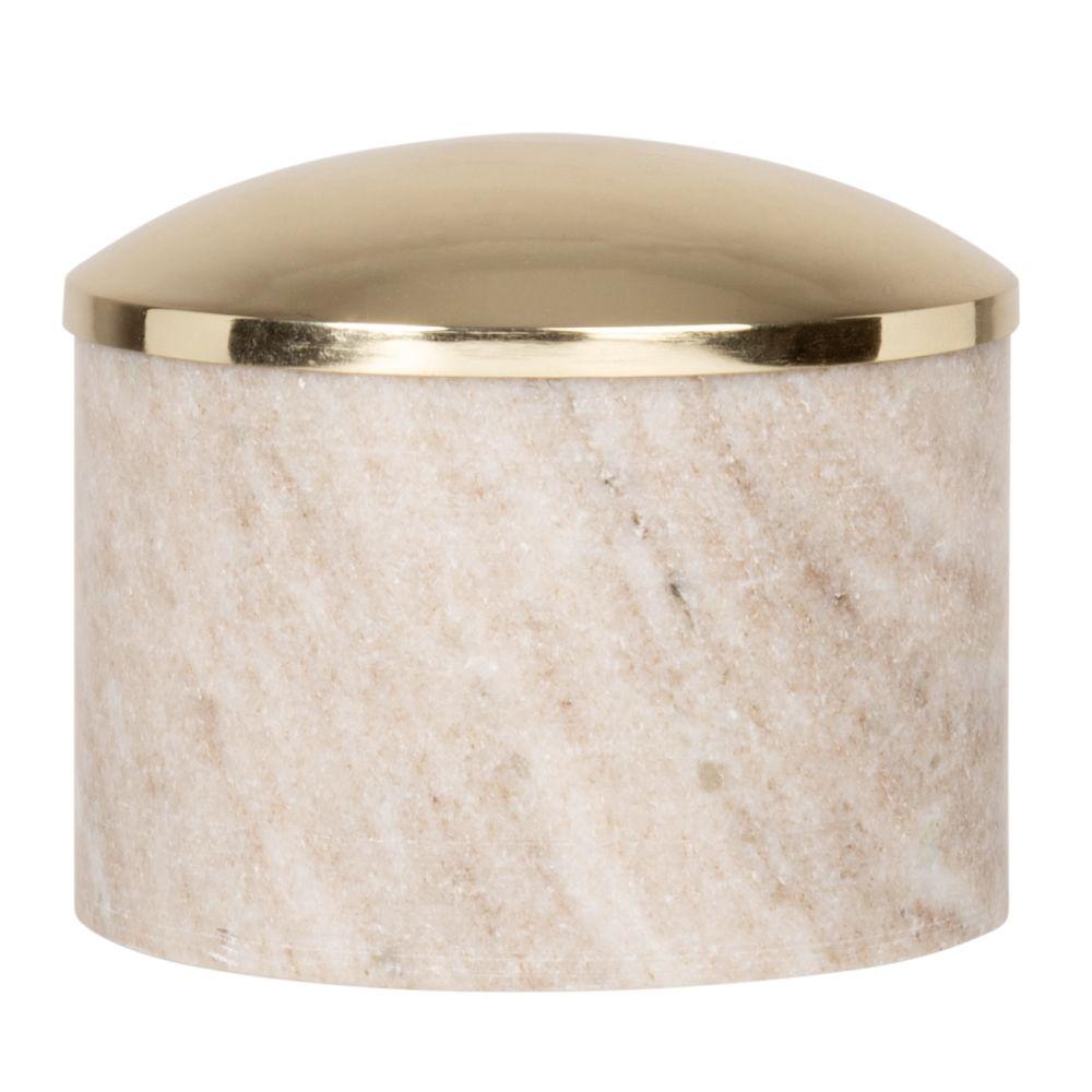 Boîte en marbre marron et couvercle en métal doré