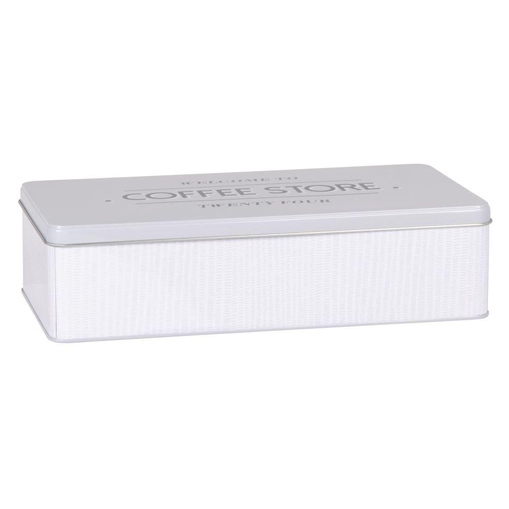 Boîte en métal gris, beige et noir 27x15