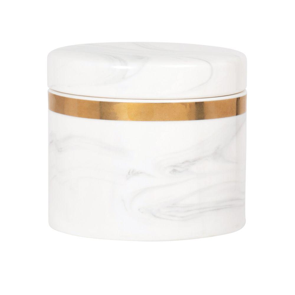 Boîte en porcelaine blanche et métal doré