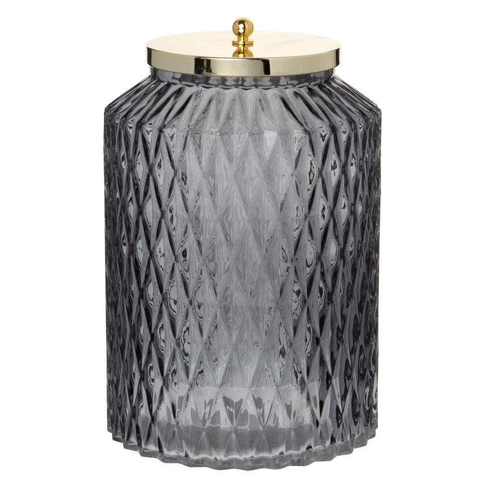 Boîte en verre taillé gris fumé et métal doré