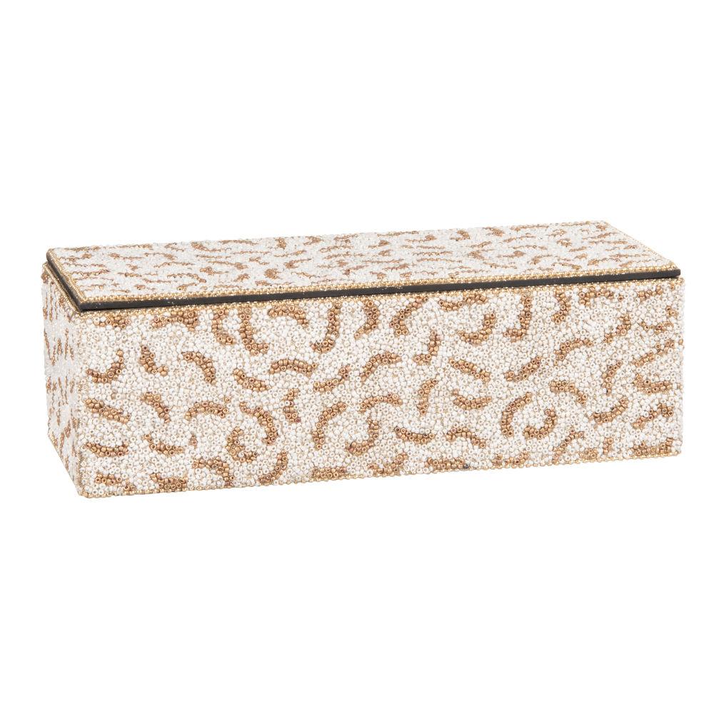 Boîte perles blanches et imprimé léopard
