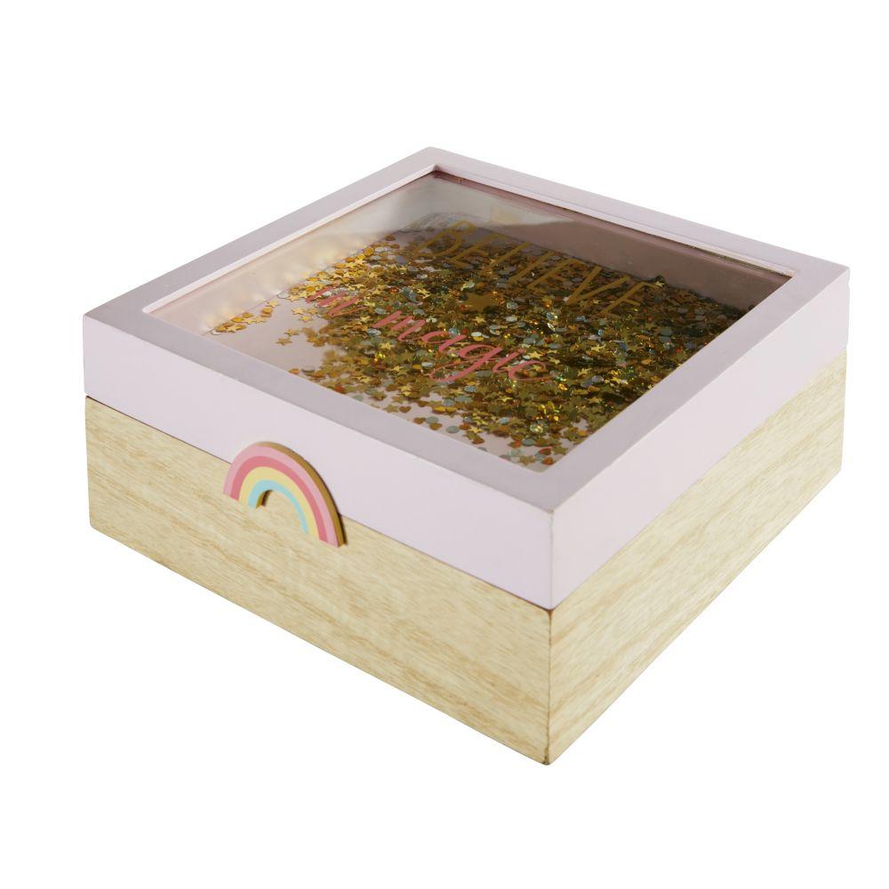Boîte rose avec arc-en- ciel