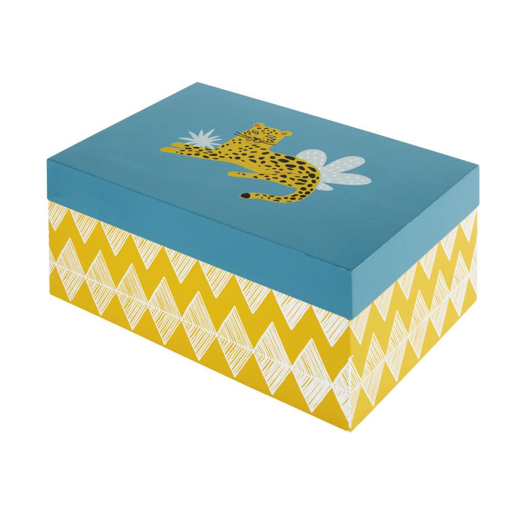 Boîte verte et jaune à motifs