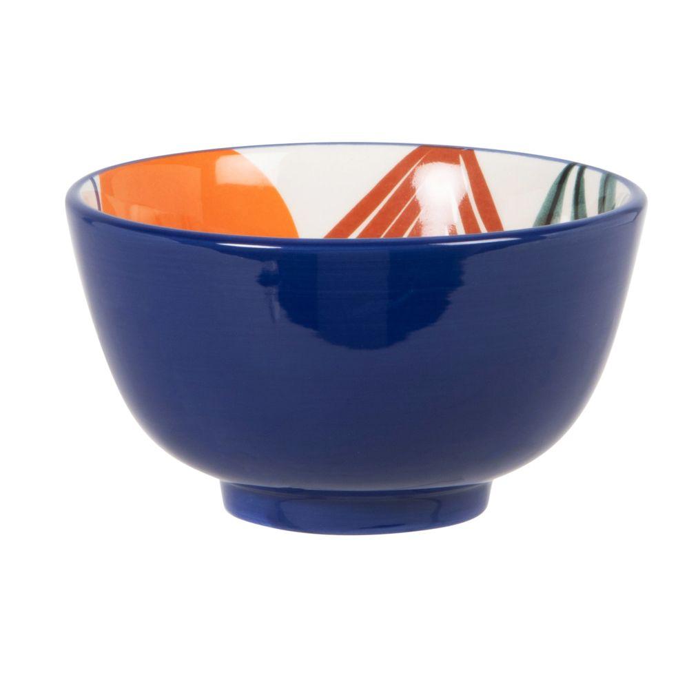 Bol à pied en faïence bleue motif végétal multicolore