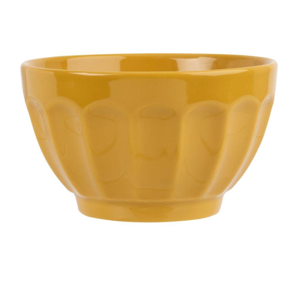 Bol en faïence côtelée jaune moutarde
