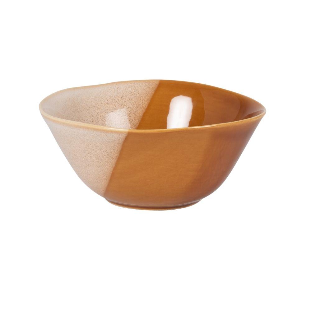 Bol en grès marron brillant et beige