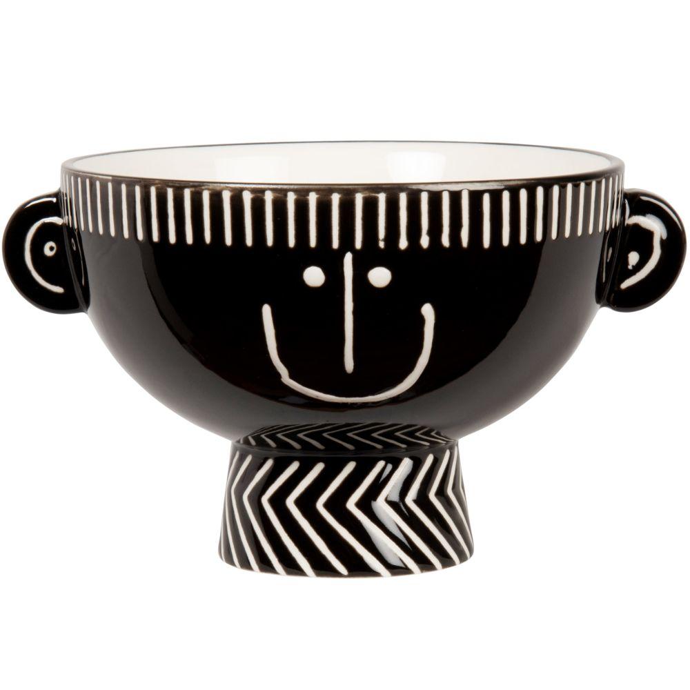 Bol en porcelaine noire et blanche motifs graphiques