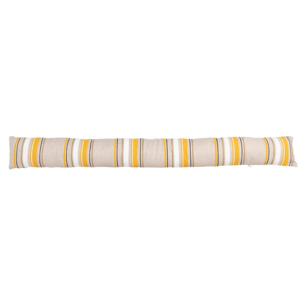 Boudin de porte en lin beige à rayures blanches, jaunes et marron