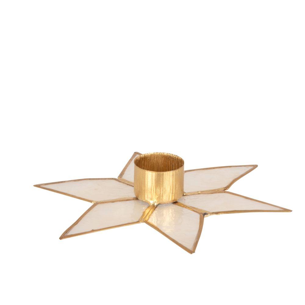 Bougeoir étoile en coquillage et métal doré