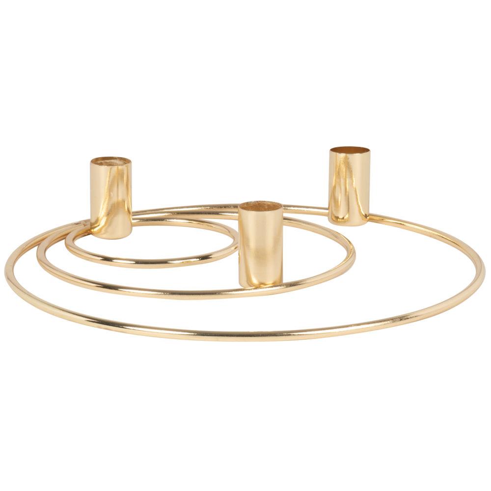 Bougeoir triple cercles en métal doré