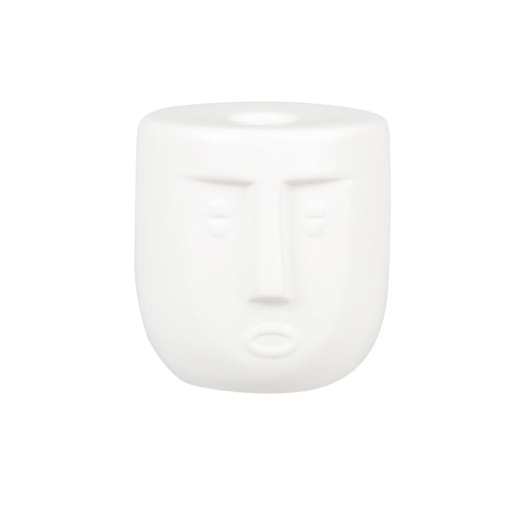 Bougeoir visage en porcelaine sculptée et effet moucheté