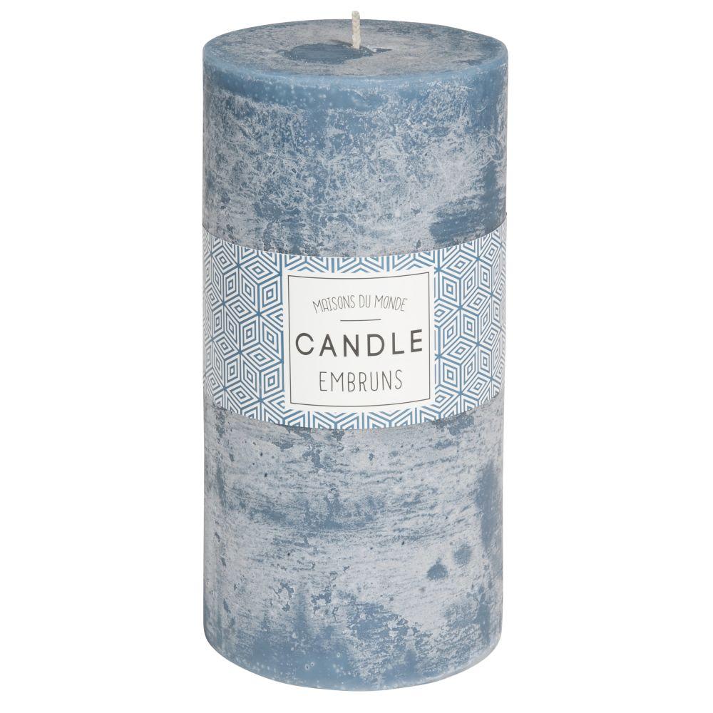 Bougie cylindrique bleu foncé 9 x 18 cm