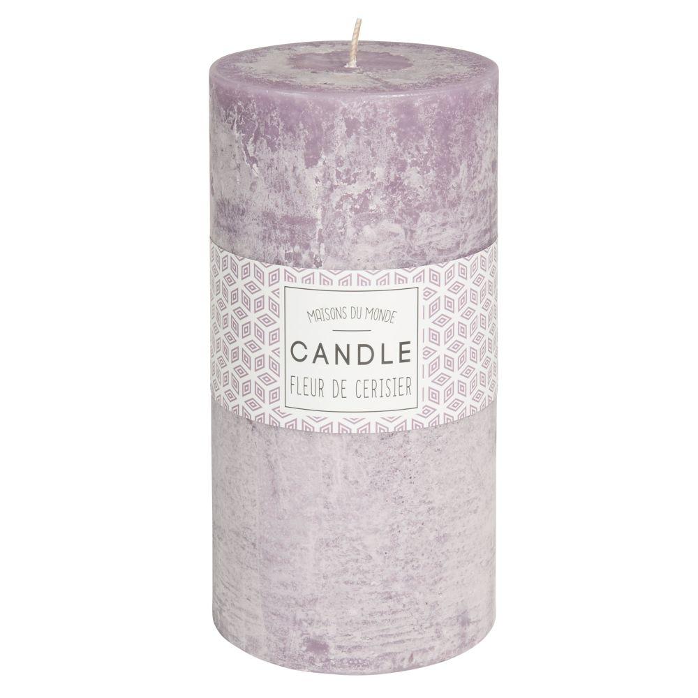 Bougie cylindrique violette 9 x 18 cm