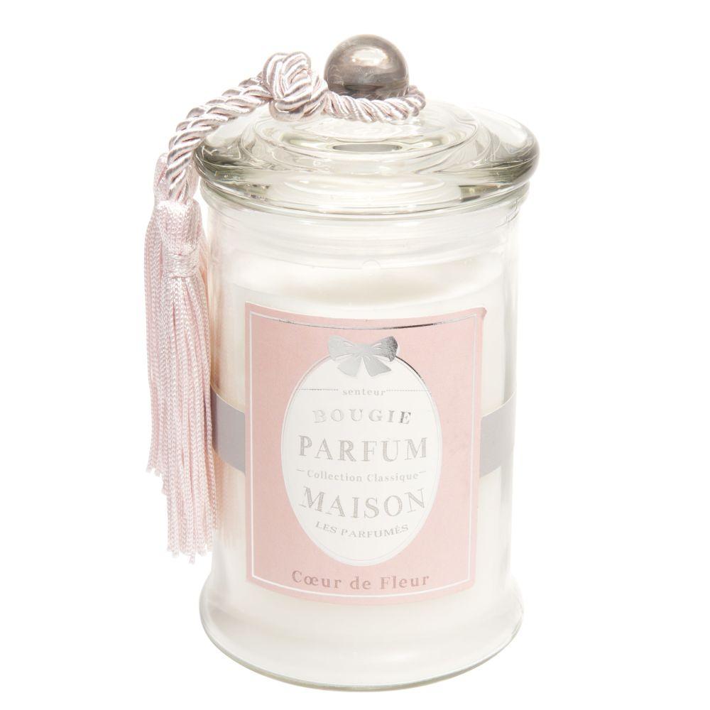 Bougie en verre parfum fleur blanche H15
