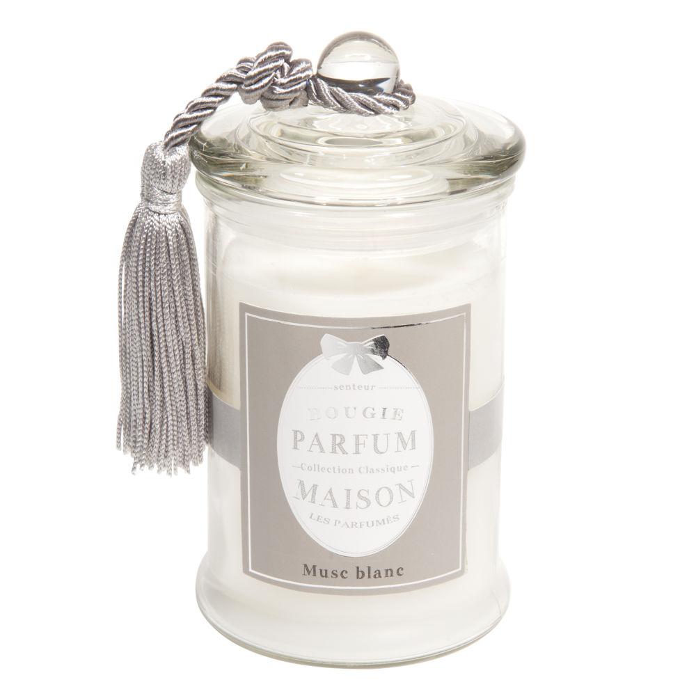 Bougie en verre parfum musc blanche H 15 cm