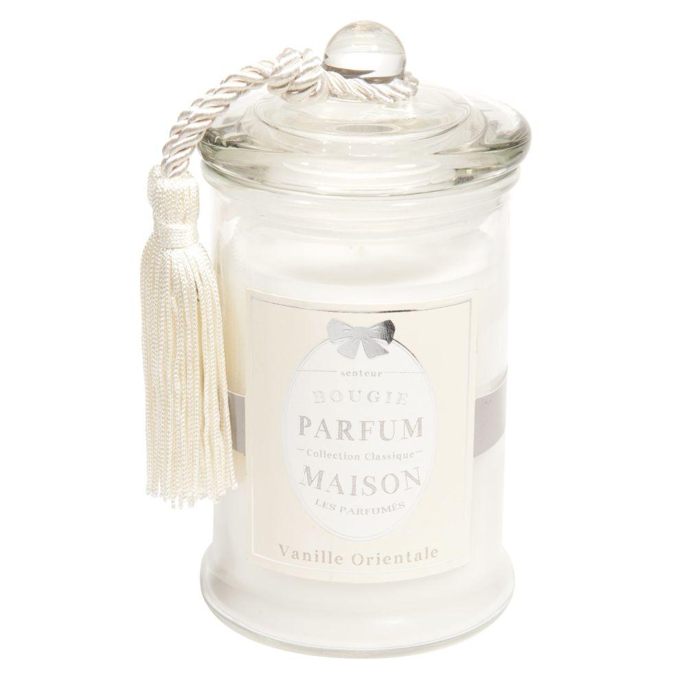 Bougie en verre parfum vanille blanche H 15 cm