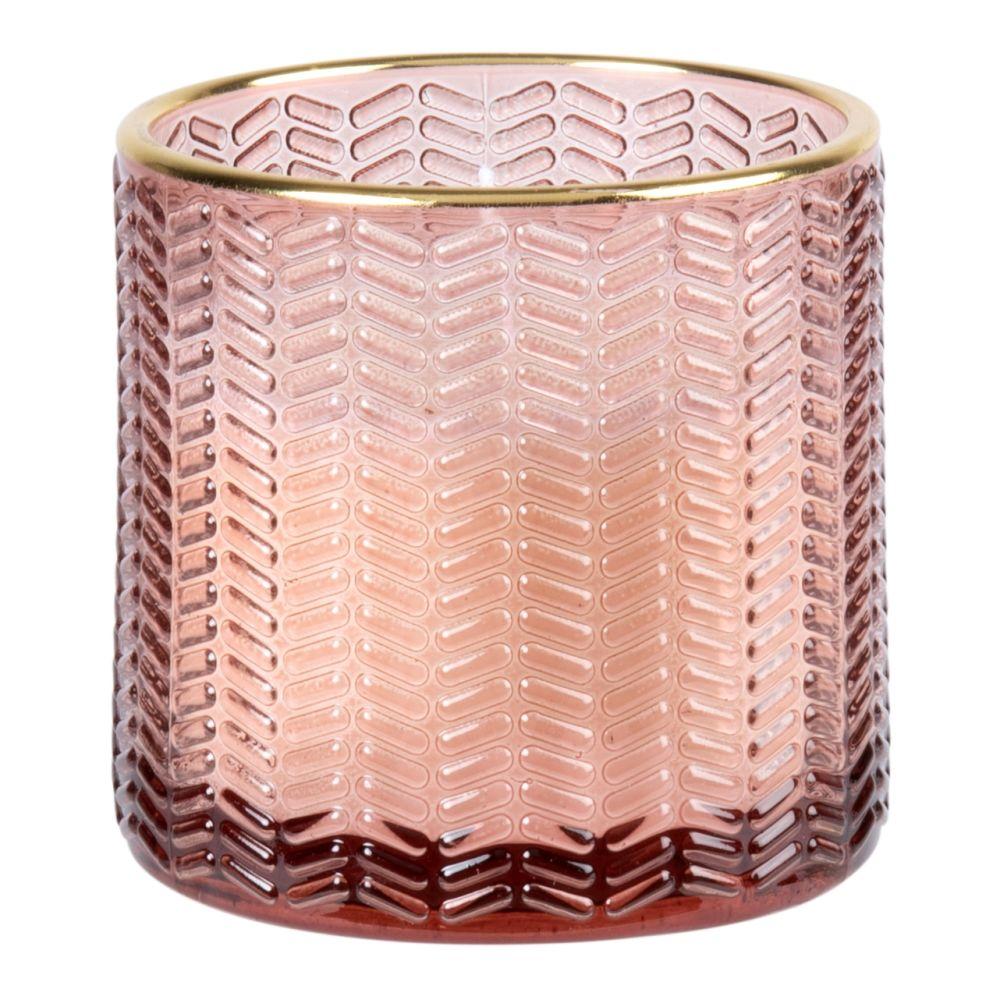 Bougie en verre strié rose et doré