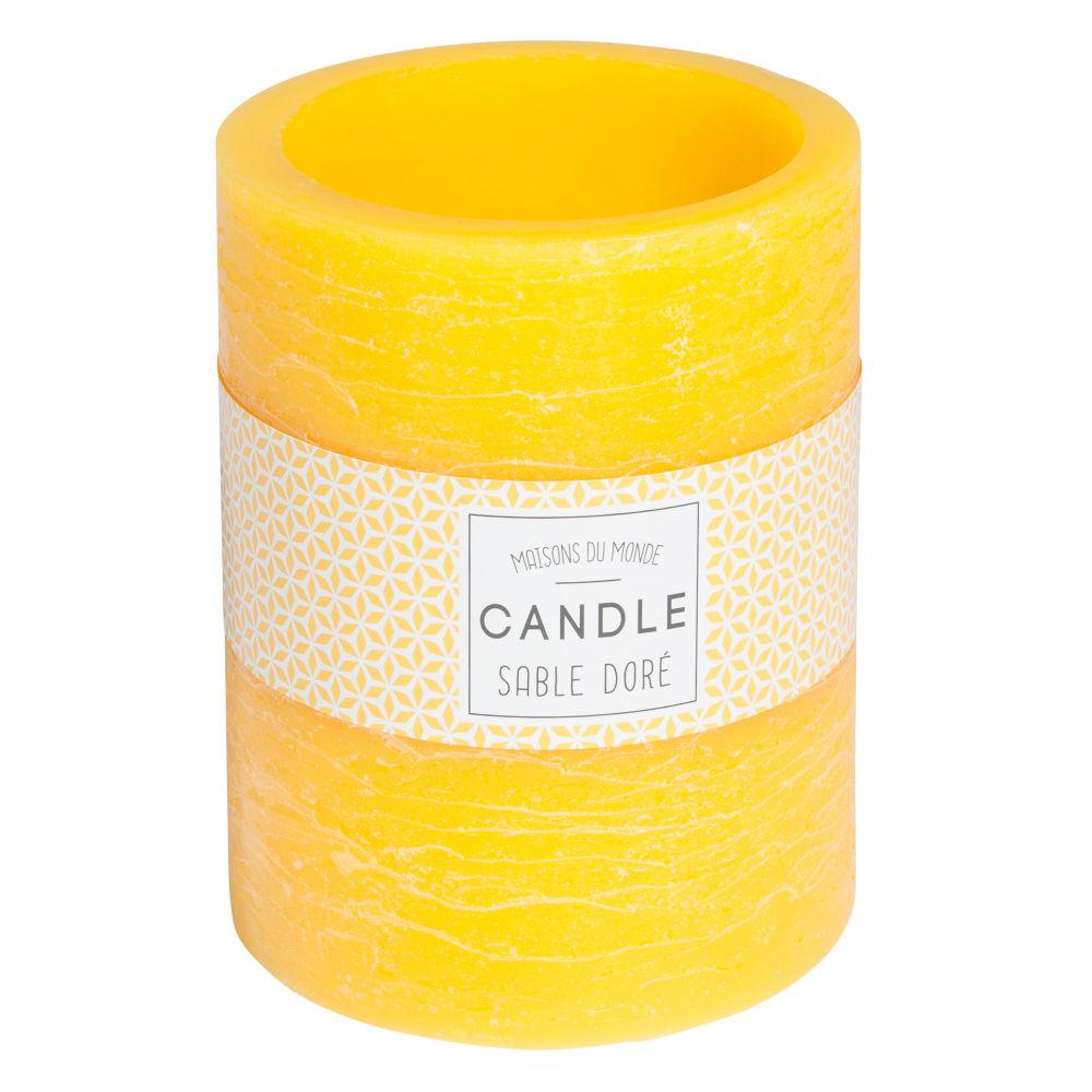 Bougie lanterne jaune H 12 cm