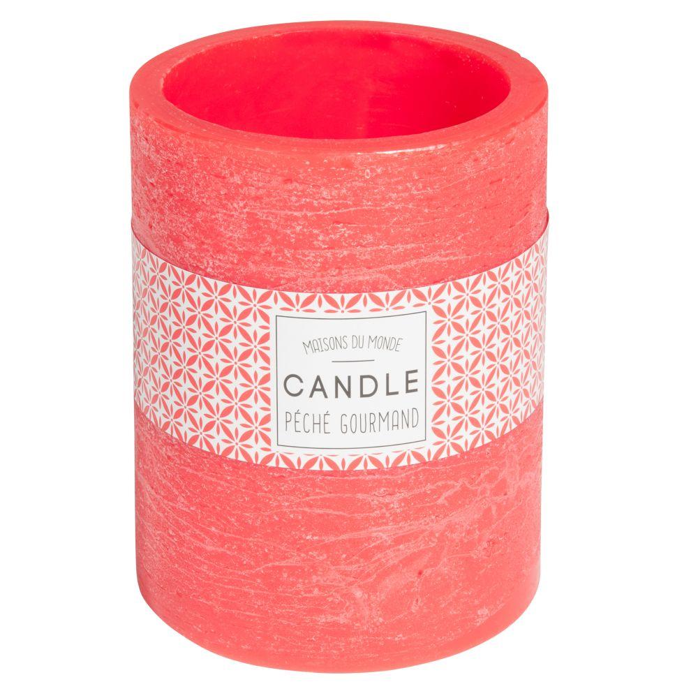 Bougie lanterne orange H 12 cm