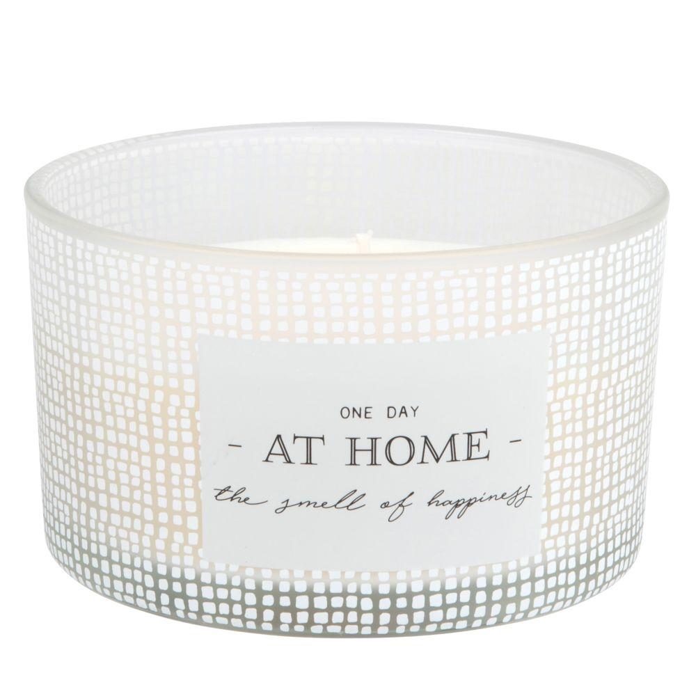 Bougie parfumée 3 mèches en verre blanc