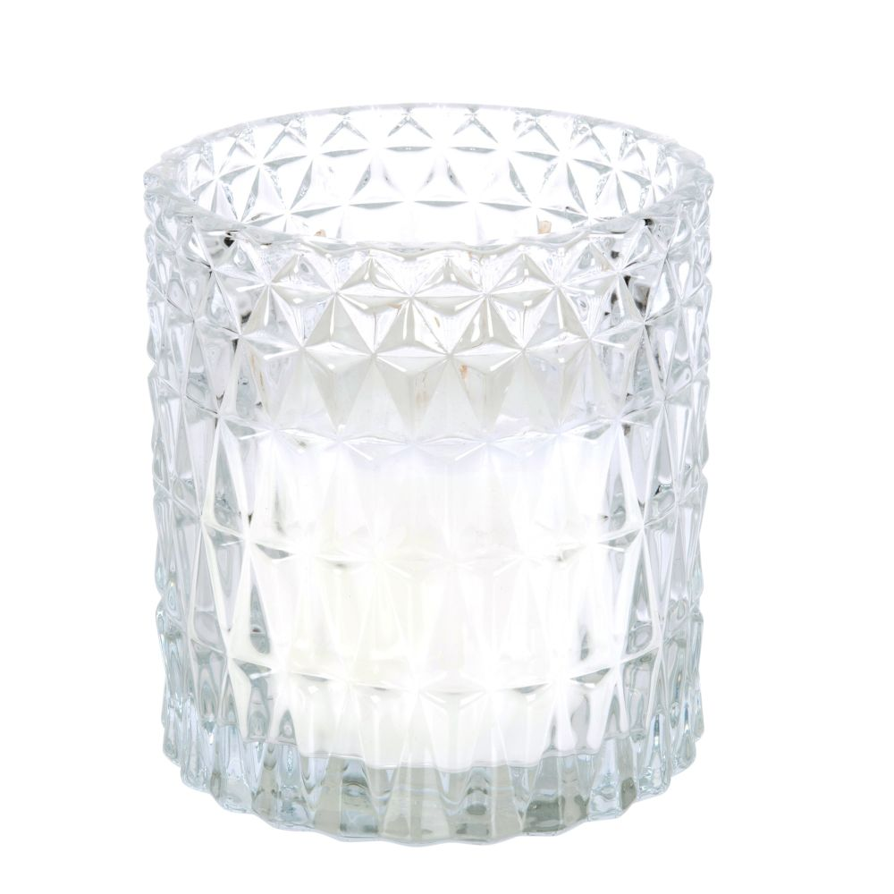 Bougie parfumée blanche en verre ciselé