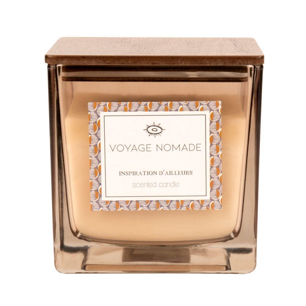 Bougie parfumée carrée taupe en verre