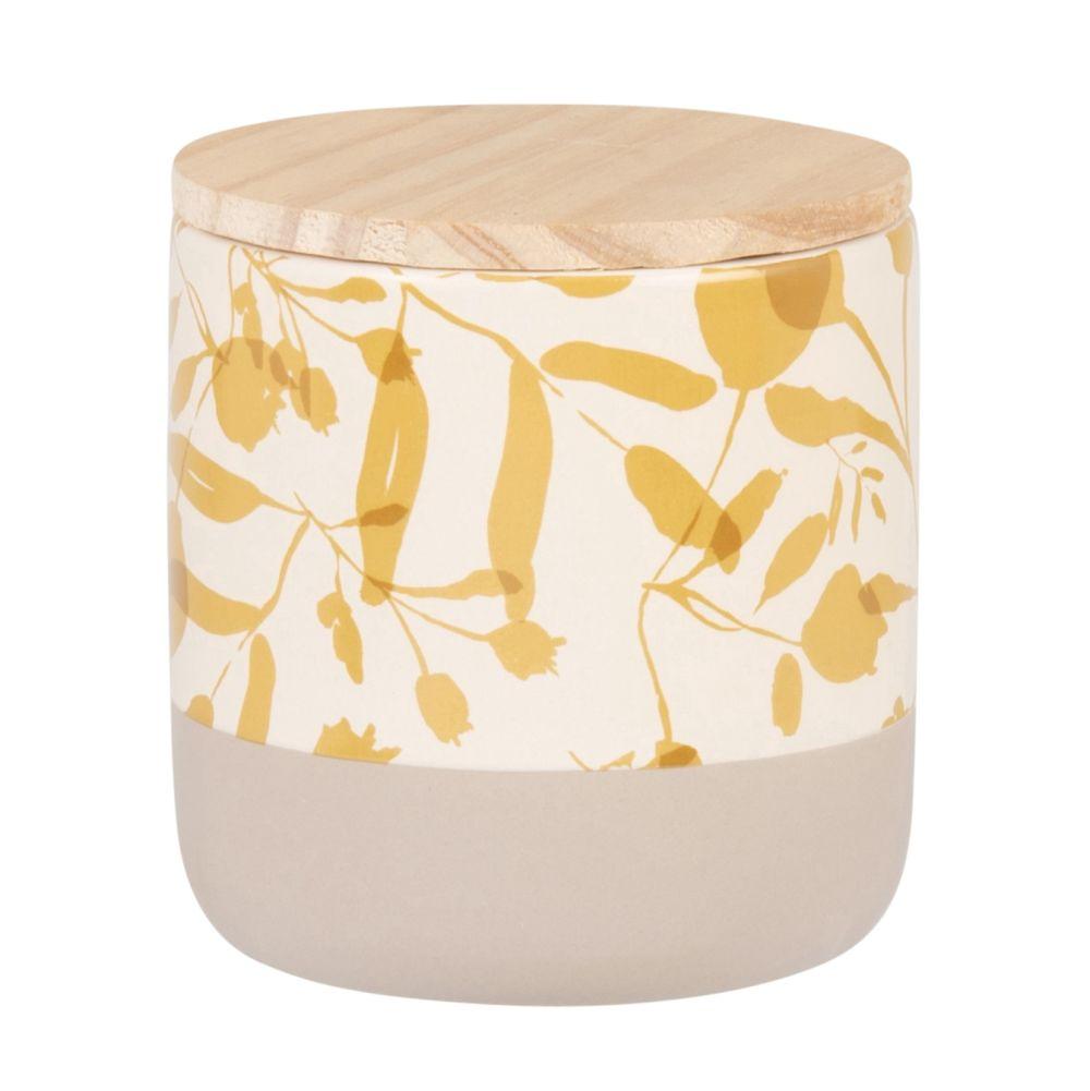 Bougie parfumée en céramique beige à motifs moutarde