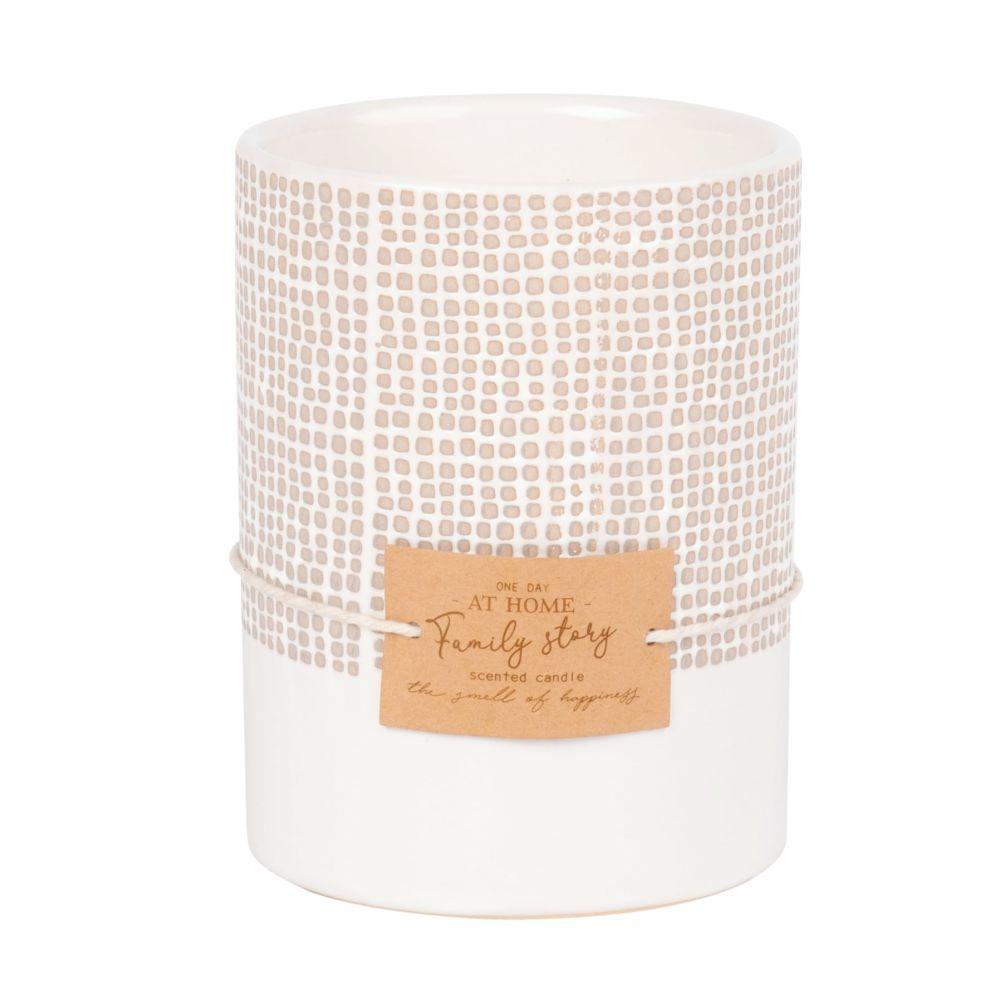 Bougie parfumée en céramique blanche, grise et ivoire