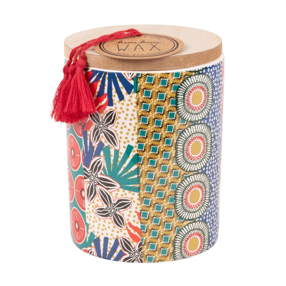 Bougie parfumée en céramique imprimé avec couvercle