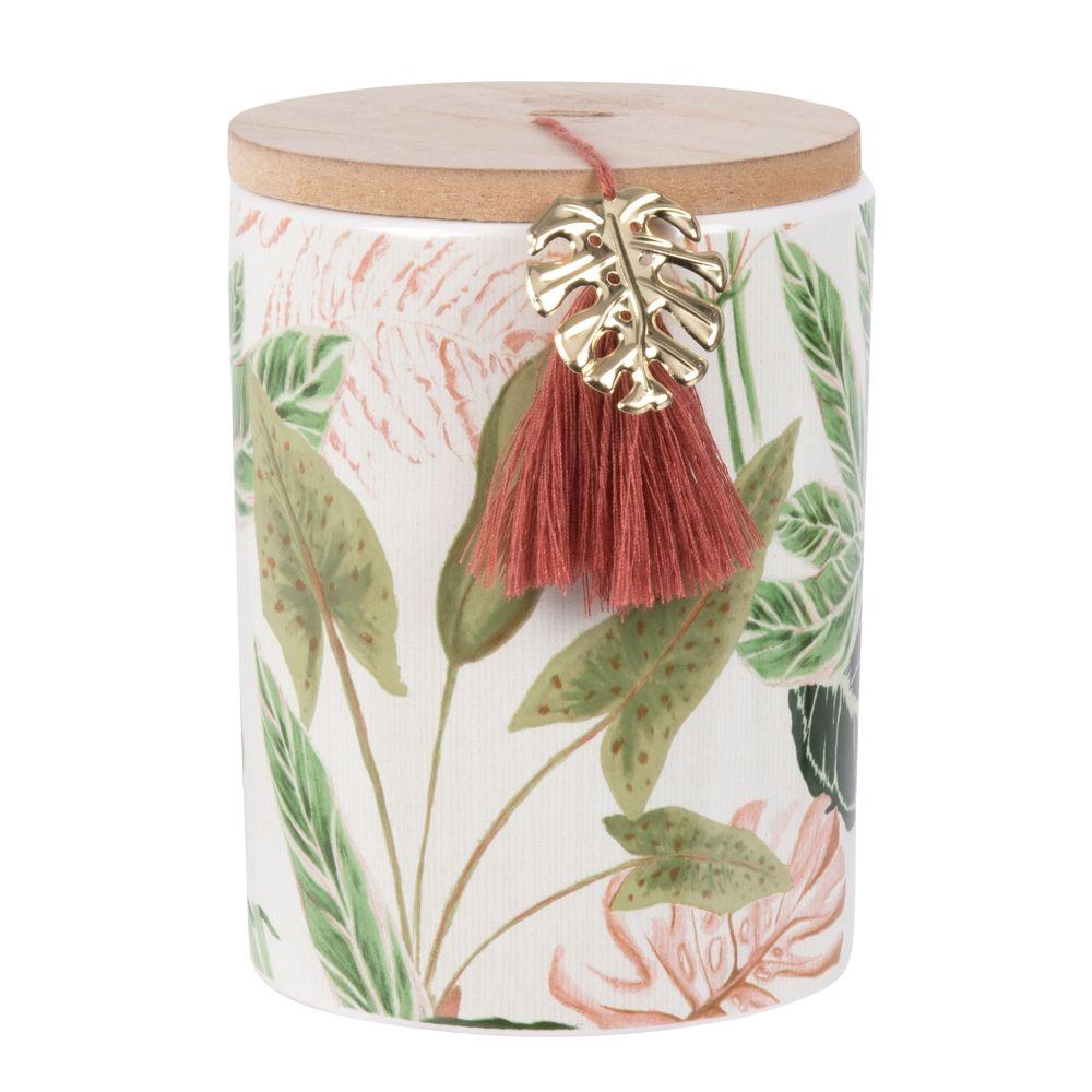 Bougie parfumée en céramique imprimé tropical et métal