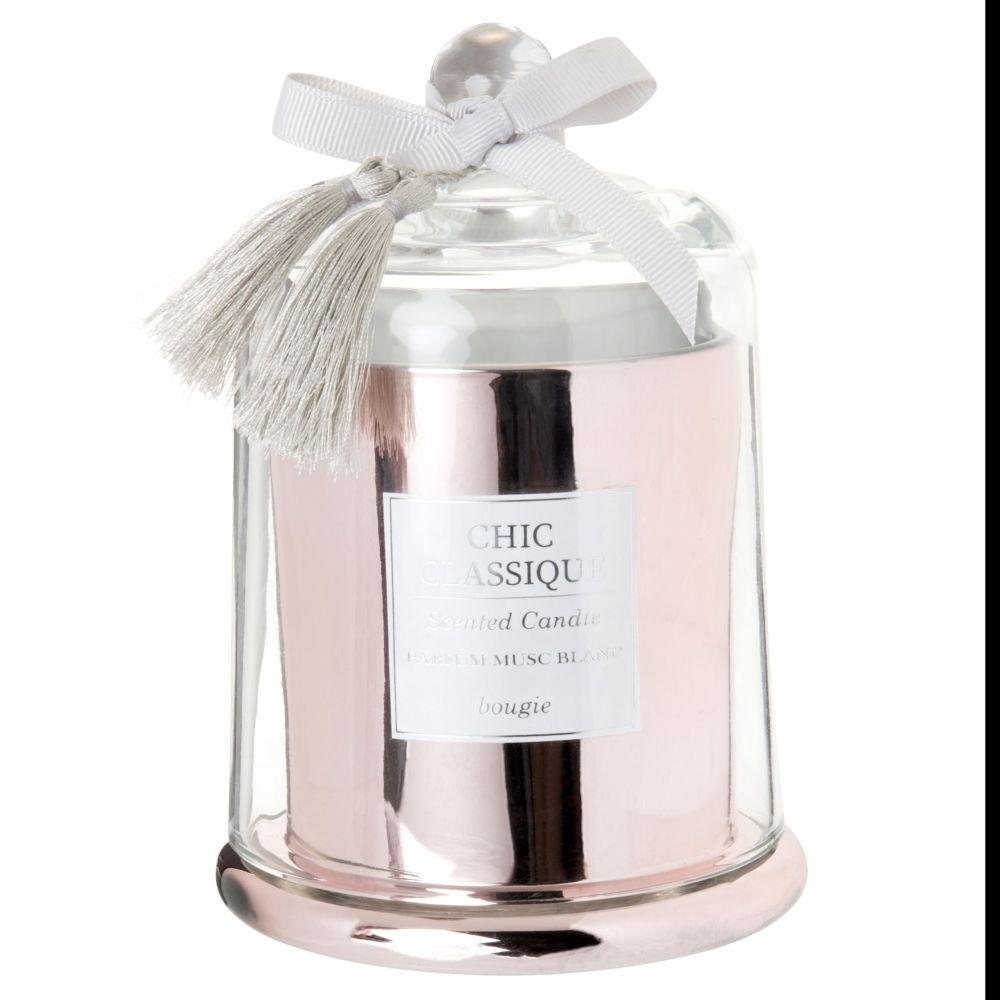 Bougie parfumée en métal rose sous cloche en verre