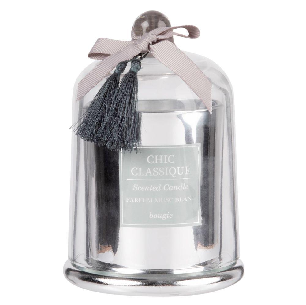 Bougie parfumée en verre argenté sous cloche