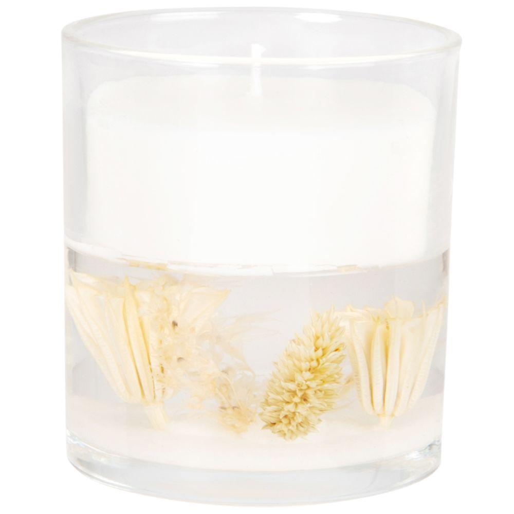 Bougie parfumée en verre beige et blanche