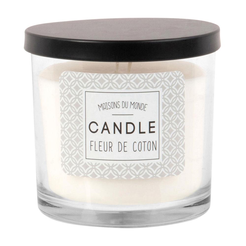 Bougie parfumée en verre blanc