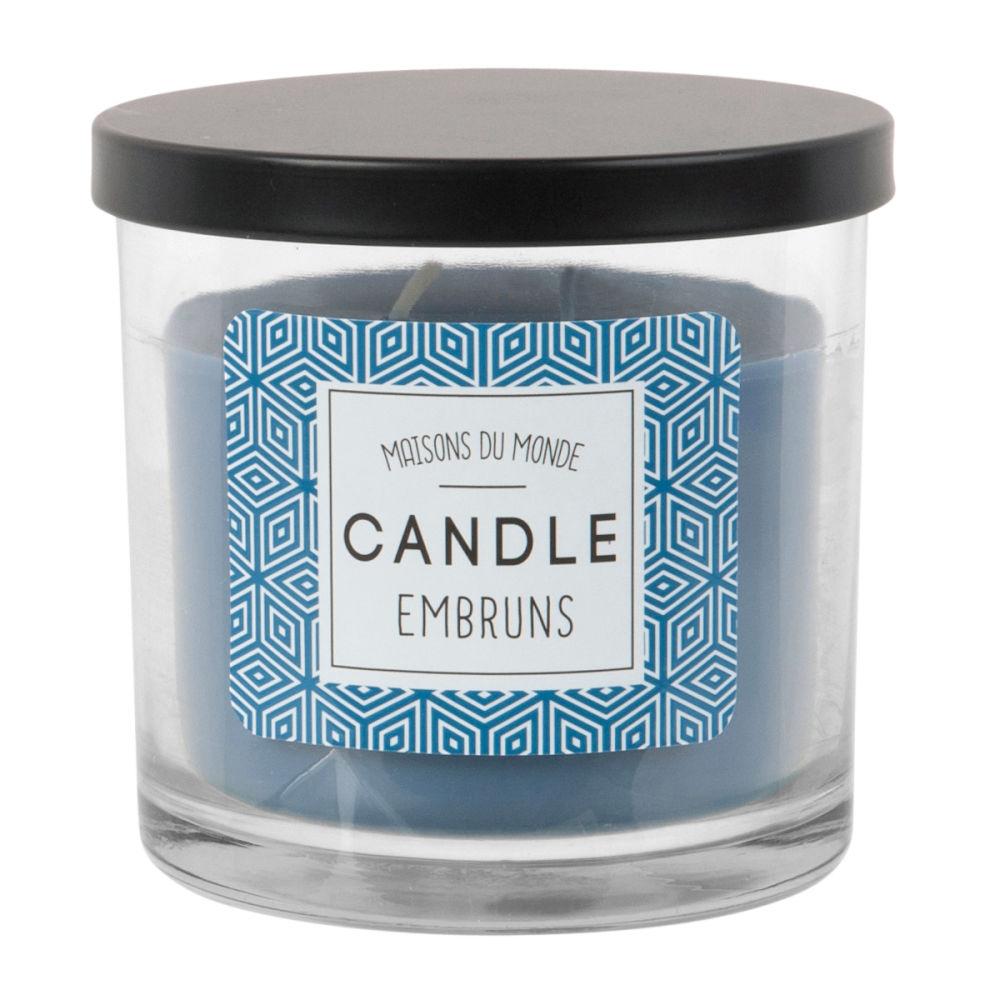 Bougie parfumée en verre bleu