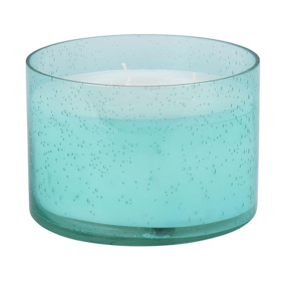 Bougie parfumée en verre bullé bleu