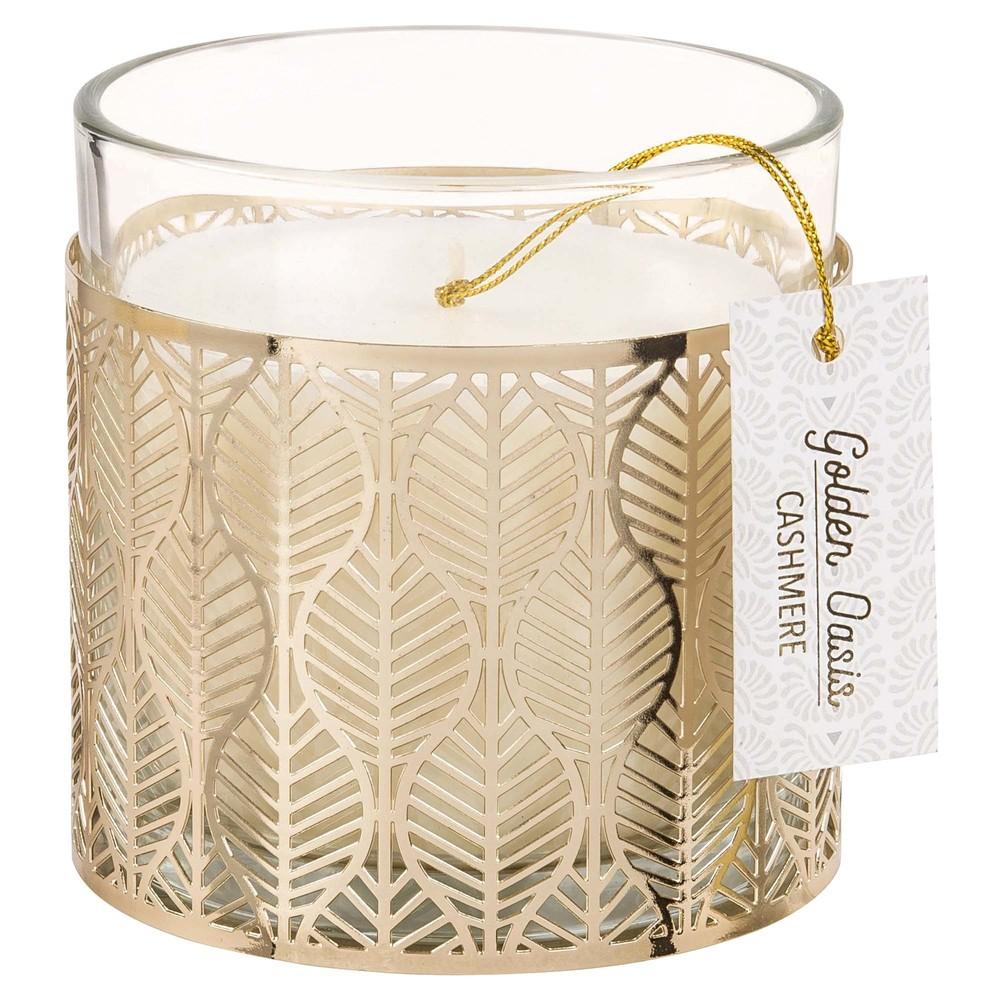 Bougie parfumée en verre et métal doré