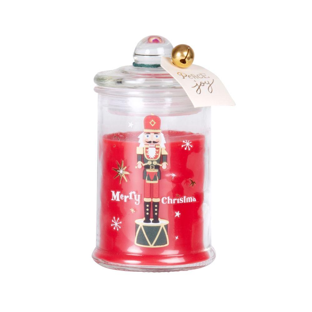 Bougie parfumée en verre imprimé casse-noisette rouge, doré et blanc