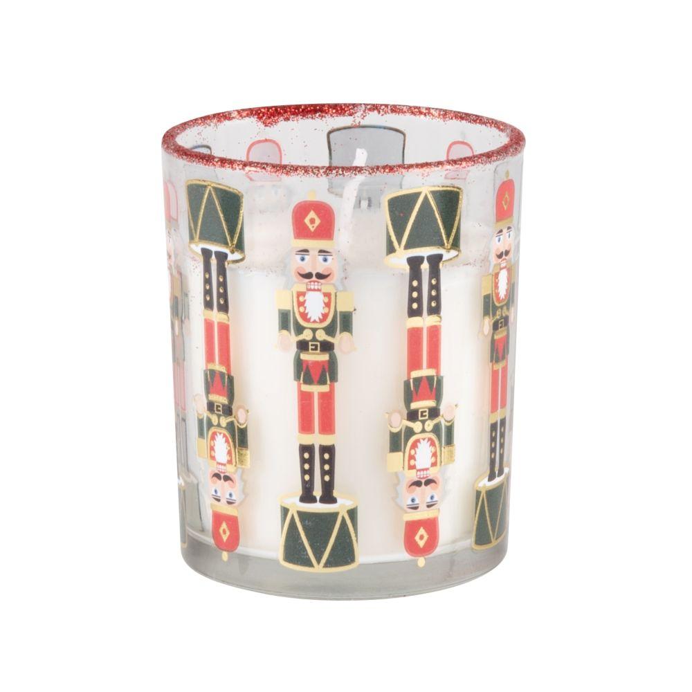 Bougie parfumée en verre imprimé casse-noisette vert, rouge, doré et blanc