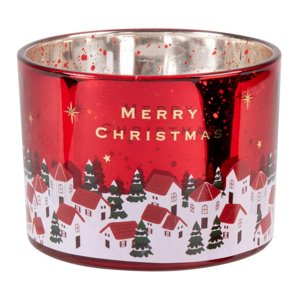 Bougie parfumée en verre imprimé rouge, vert, blanc et doré