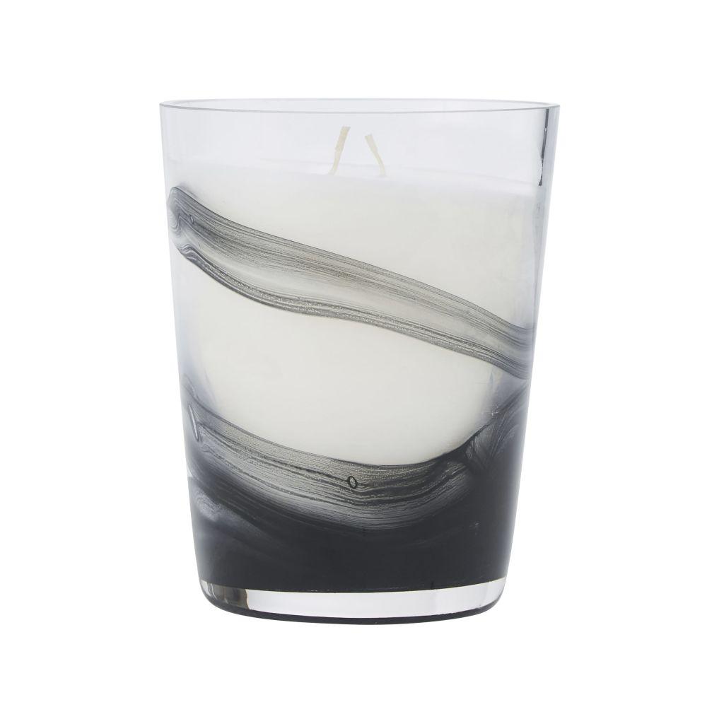 Bougie parfumée en verre noir et blanc