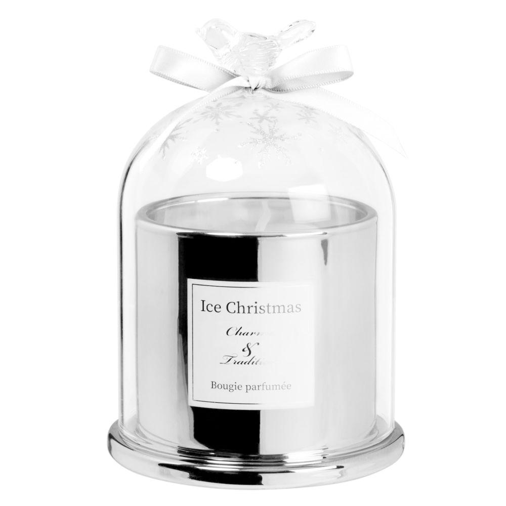 Bougie parfumée en verre teinté argent et blanc