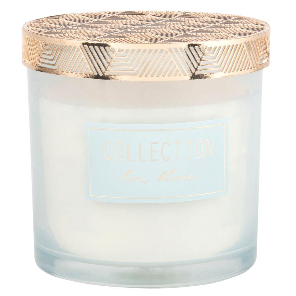Bougie parfumée en verre teinté bleu clair et métal doré