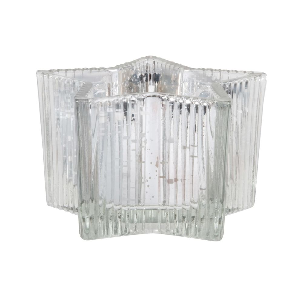 Bougie parfumée étoile en verre transparent et argenté