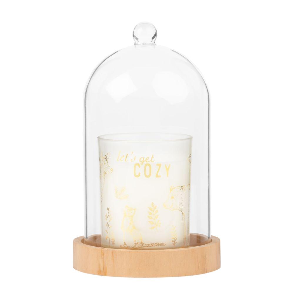 Bougie parfumée imprimé doré sous cloche en verre