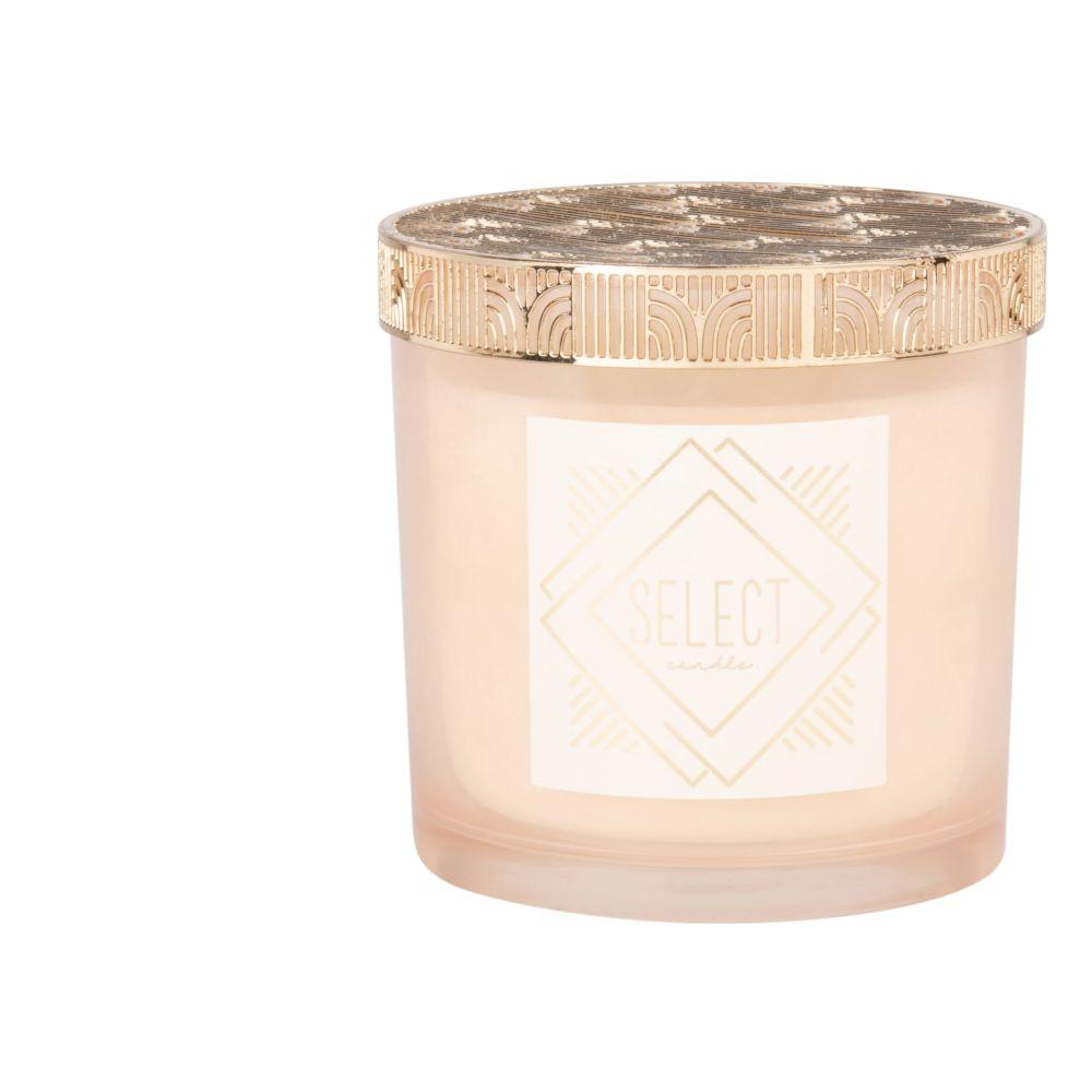 Bougie parfumée rose en verre et métal doré