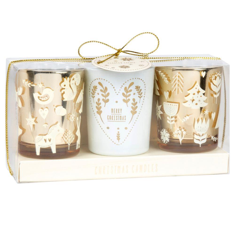 Bougies parfumées en verre teinté doré et ivoire