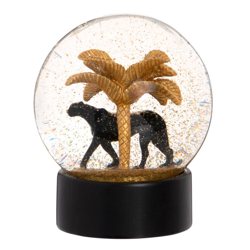 Boule à neige dorée palmier et panthère noire